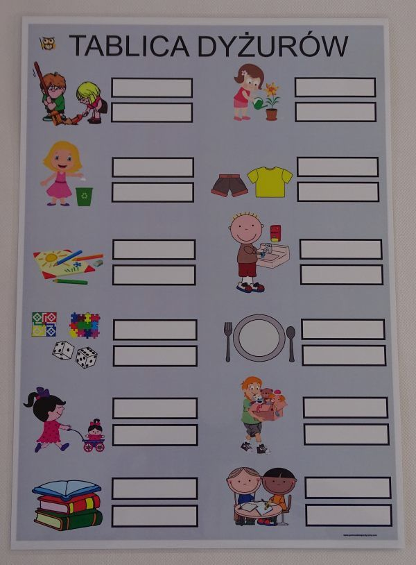 Nasze dyżury w przedszkolu - tablica imienna