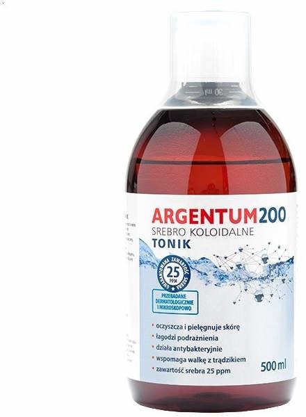 Srebro Koloidalne Argentum 200 25ppm Tonik Argentum200 Aura Herbals 500ml