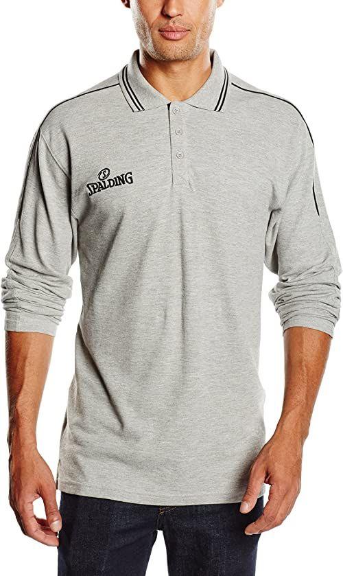 Spalding Męska koszulka polo LS, szaro-melanż/czarna, S