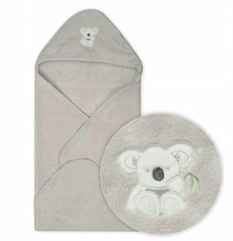 Kocyk dziecięcy 95x95 Miś Koala 42 szary z kapturkiem do fotelika z mikrofibry