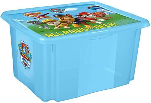 keeeper Paw Patrol pudełko do przechowywania z pokrywką, obrotowe i można układać w stos, dla dzieci, 45 l, Paulina, przezroczyste niebieskie