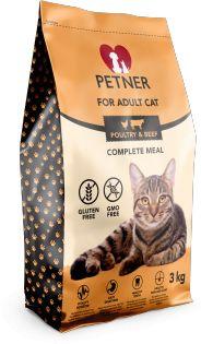 Petner Adult Cat z Drobiem i Wołowiną 3 KG