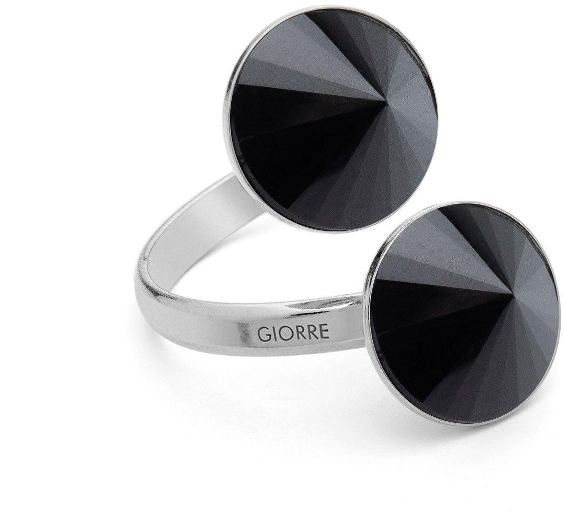 Pierścionek z dwoma ciemnymi kamieniami naturalnymi - tygrysie oko, onyx, srebro 925 : Kamienie naturalne - kolor - onyx czarny, Srebro - kolor pokrycia - Pokrycie platyną
