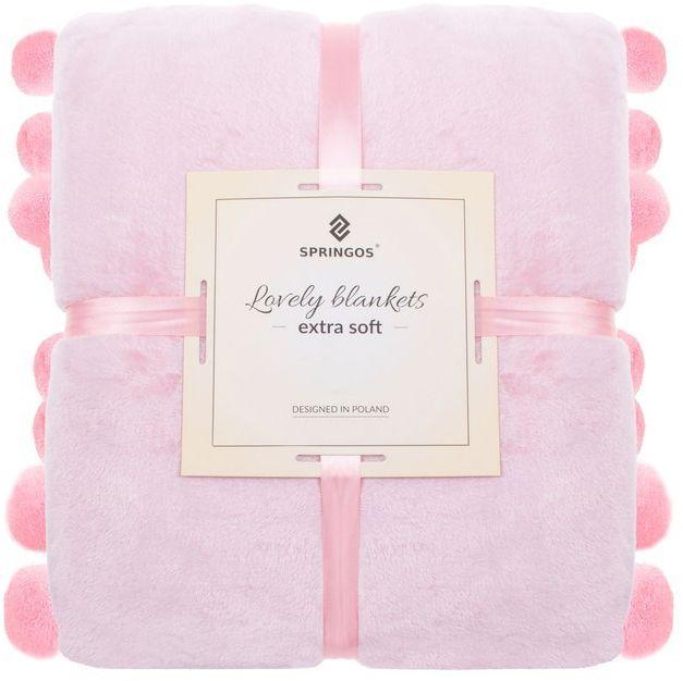 Narzuta na łóżko z pomponami, pled 200x220 cm dwustronny koc na kanapę różowy
