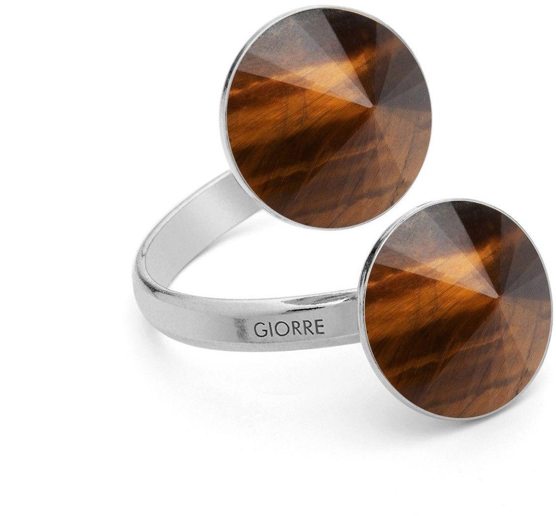 Pierścionek z dwoma ciemnymi kamieniami naturalnymi - tygrysie oko, onyx, srebro 925 : Kamienie naturalne - kolor - tygrysie oko, Srebro - kolor pokrycia - Pokrycie platyną