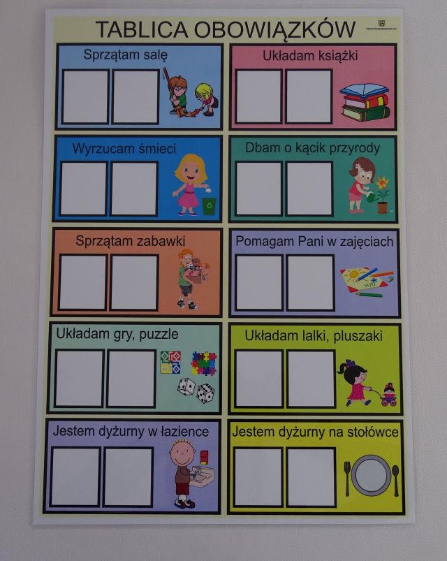 Plan dyżurów dzieci w przedszkolu