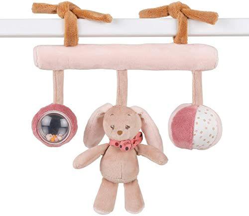 Nattou Zabawka do zawieszenia królik Pauline, z grzechotką, 26 x 23 x 6 cm, Pauline i Sasha, brązowy/różowy/beżowy