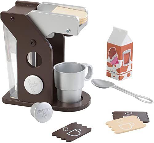 KidKraft 63379 zestaw do zabawy do kawy, zestaw zabawek z ekspresem do kawy, kolory espresso, XL