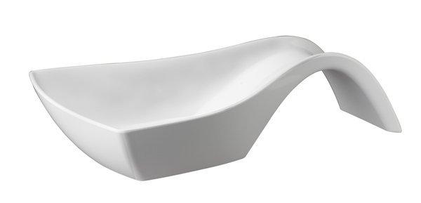 Miska prostokątna z uchwytem z melaminy biała 330x240x(H)85mm