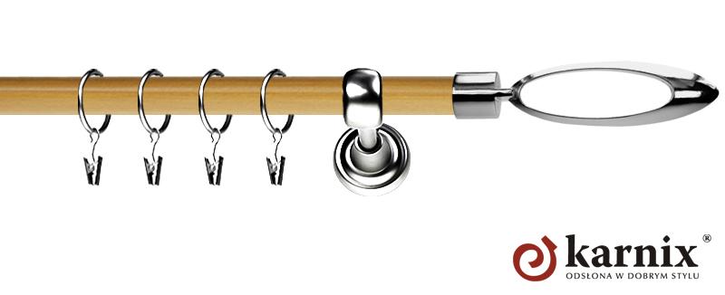 Karnisz Metalowy Prestige pojedynczy 19mm Mirella INOX - pinia