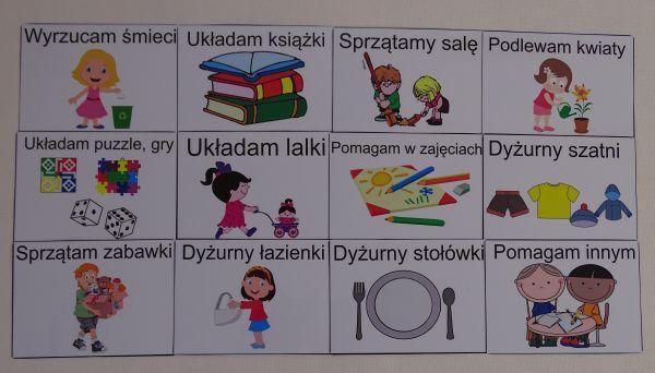 Dyżury w przedszkolu - obrazki
