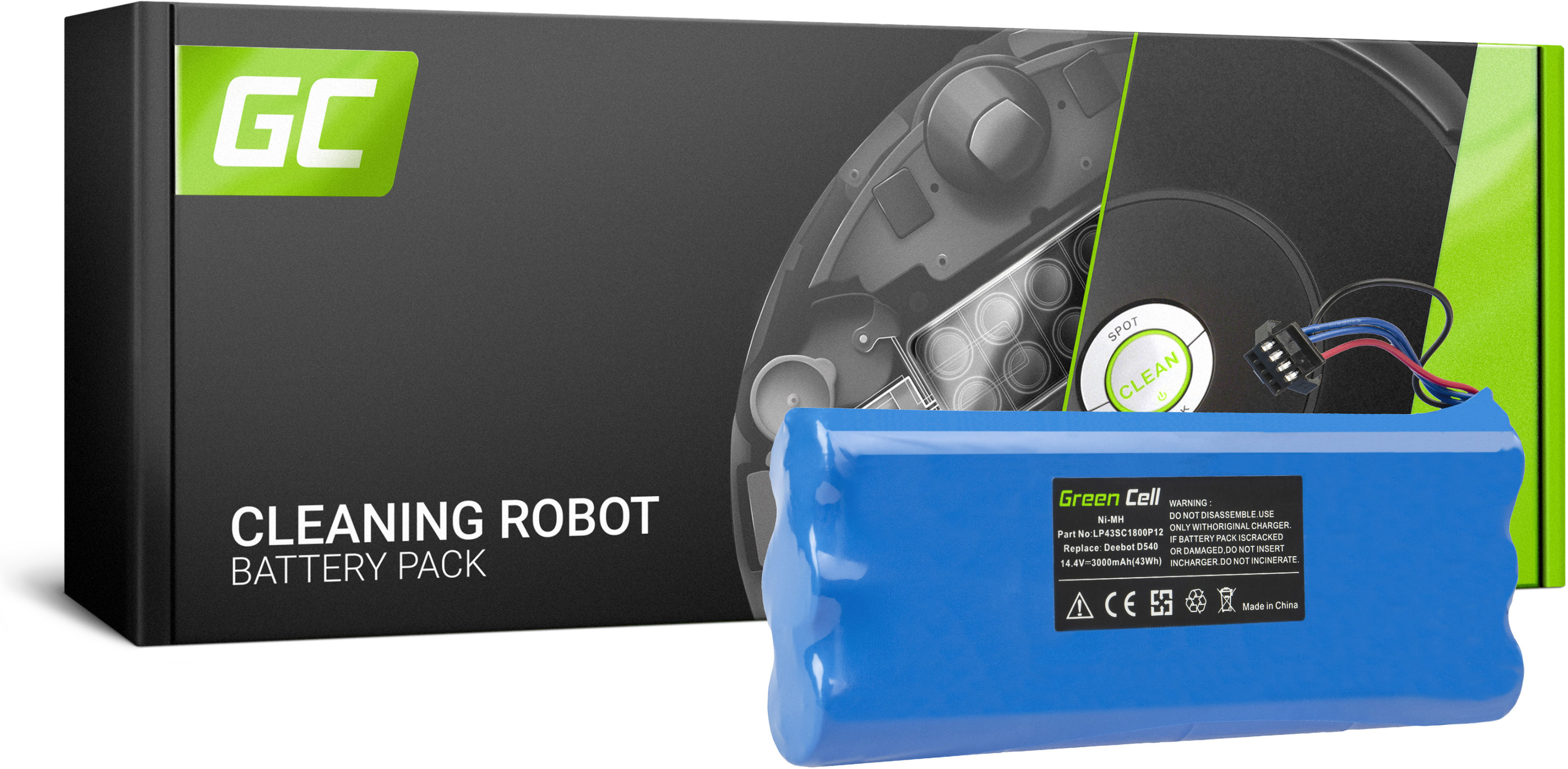 Bateria Akumulator (3Ah 14.4V) LP43SC1800P12 Green Cell do Ecovacs Deebot D523 D540 D550 D560 D570 D580