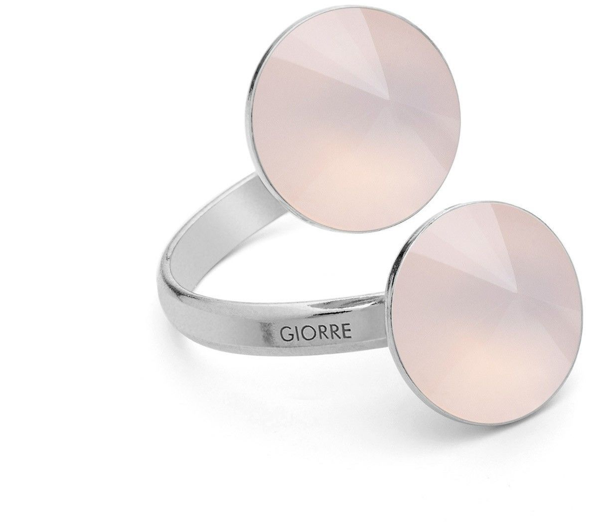 Pierścionek z dwoma naturalnymi kamieniami - kwarc, srebro 925 : Kamienie naturalne - kolor - kwarc różowy jasny, Srebro - kolor pokrycia - Pokrycie platyną