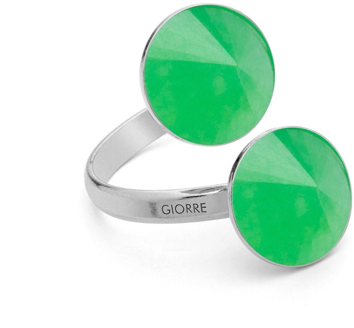 Pierścionek z dwoma naturalnymi kamieniami - chryzopraz, srebro 925 : Kamienie naturalne - kolor - chryzopraz zielony ciemny, Srebro - kolor pokrycia - Pokrycie platyną