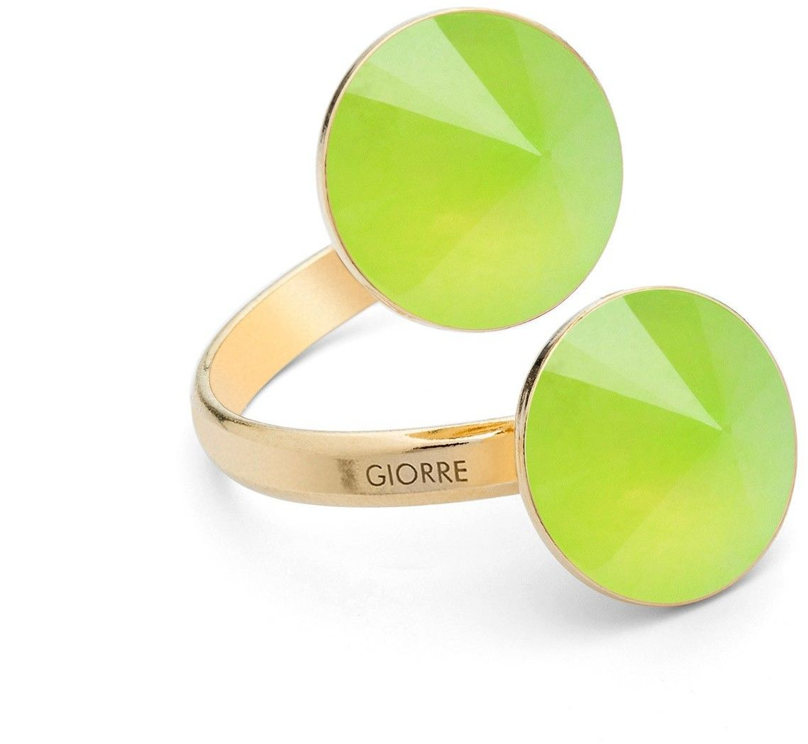 Pierścionek z dwoma naturalnymi kamieniami - chryzopraz, srebro 925 : Kamienie naturalne - kolor - chryzopraz zielony jasny, Srebro - kolor pokrycia - Pokrycie żółtym 18K złotem