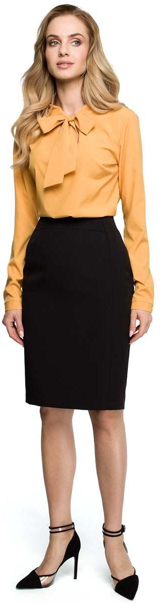 Czarna klasyczna ołówkowa spódnica z modelującymi przeszyciami