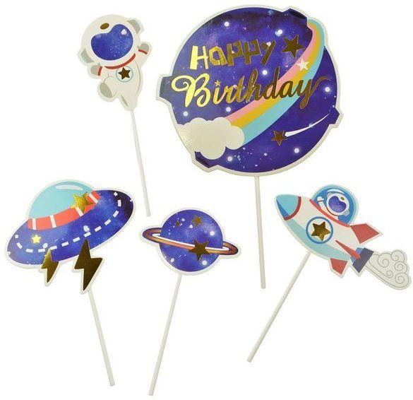 Topper na tort Happy Birthday Kosmos 13-15cm 5 sztuk DC2830