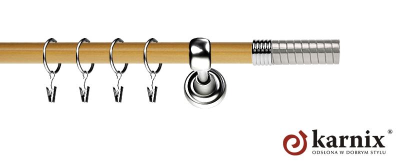 Karnisz Metalowy Prestige pojedynczy 19mm Optima INOX - pinia