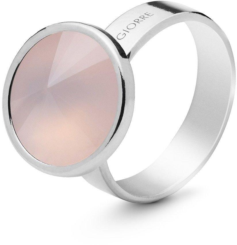 Srebrny pierścionek z kwarcem, srebro 925 : Kamienie naturalne - kolor - kwarc różowy jasny, ROZMIAR PIERŚCIONKA - 17 UK:R 18,00 MM, Srebro - kolor pokrycia - Pokrycie platyną