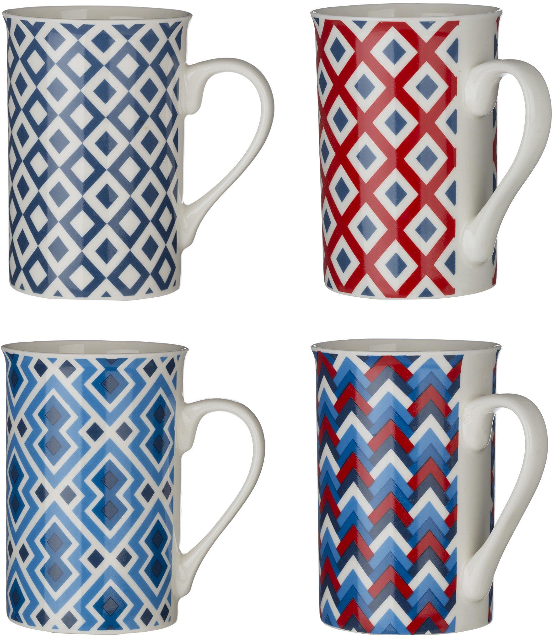 Premier zestaw 4 filiżanek Austin, 270 ml, niebieski, czerwony, biały, porcelana