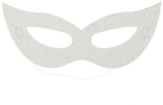 Maska karnawałowa brokatowa srebrna 6 sztuk K2442SRE