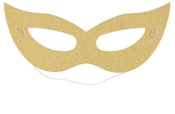 Maska karnawałowa brokatowa złota 6 sztuk K2442ZŁO