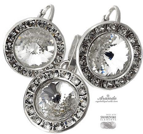 Kryształy ozdobne kolczyki wisiorek CRYSTAL SREBRO