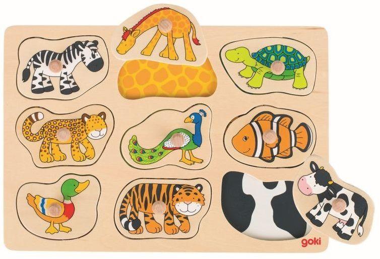 Zwierzęta i ich skóra, układanka z uchwytami, goki