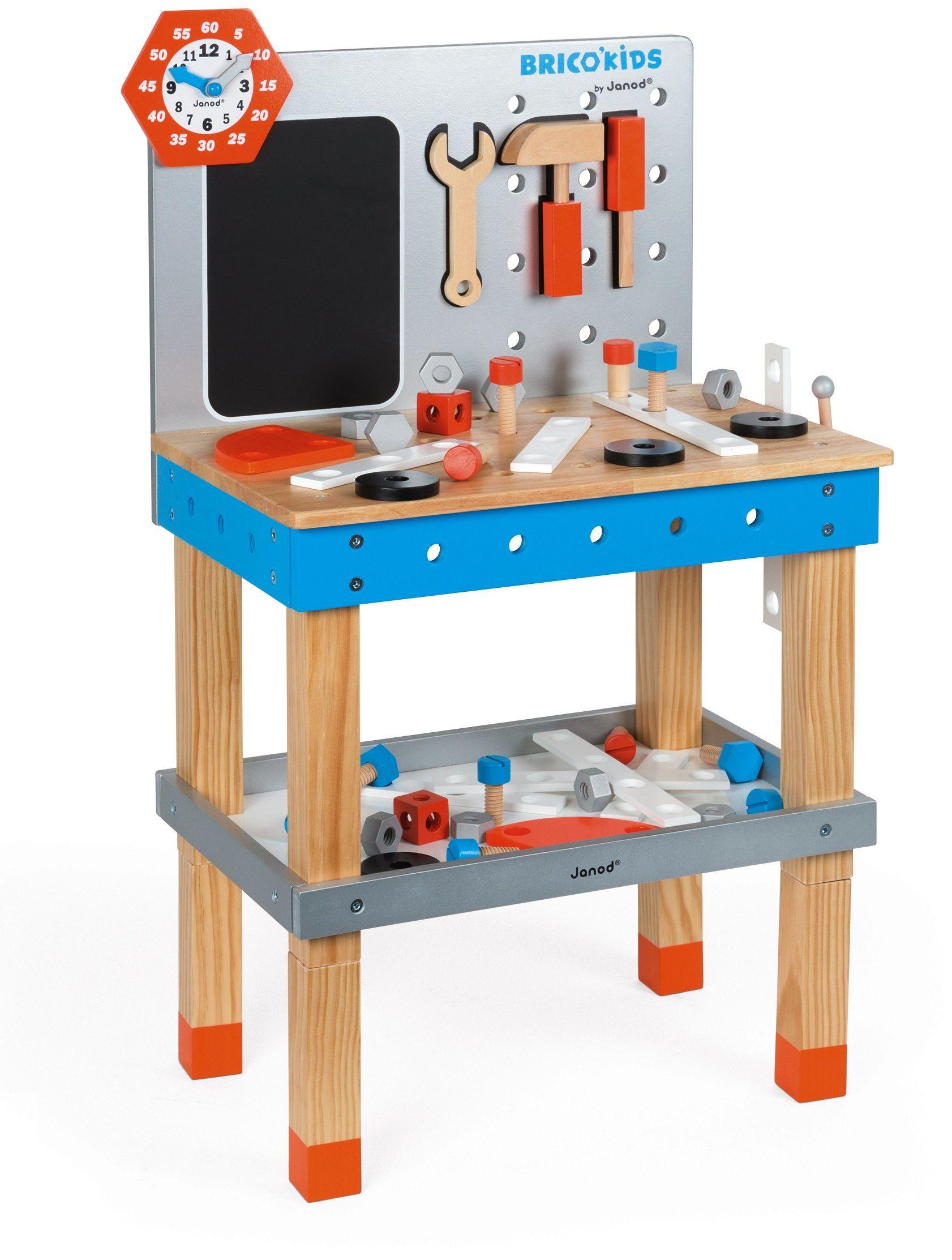 Janod J06477 Brico Kids Diy Giant Magnetic Workbench Brico''Kids stół warsztatowy, duży, wielokolorowy