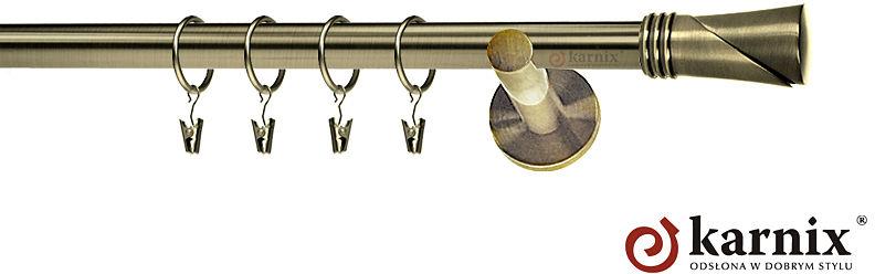 Karnisze nowoczesne NEO pojedynczy 19mm Loca antyk mosiądz