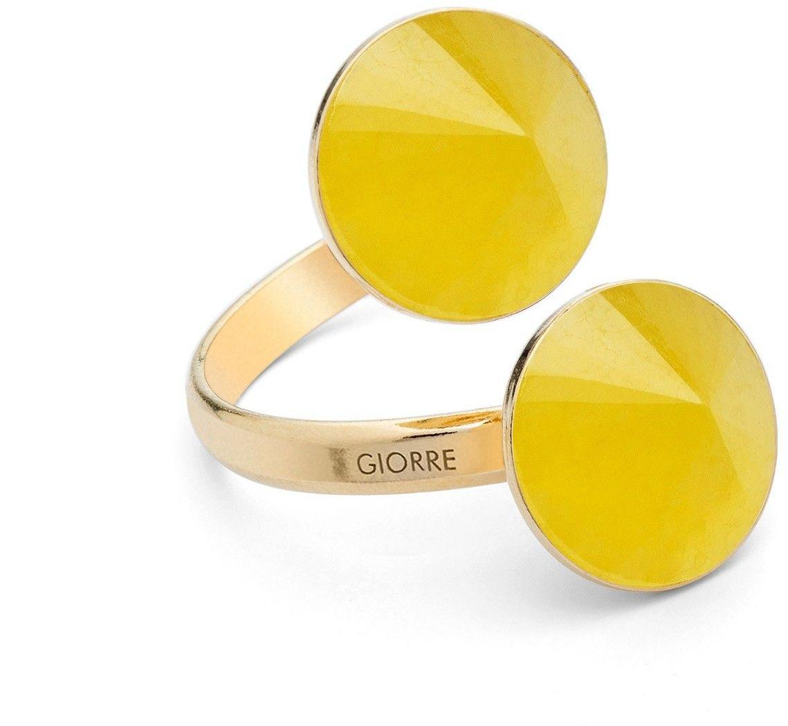 Pierścionek z dwoma naturalnymi kamieniami - chalcedon, srebro 925 : Kamienie naturalne - kolor - chalcedon żółty , Srebro - kolor pokrycia - Pokrycie żółtym 18K złotem