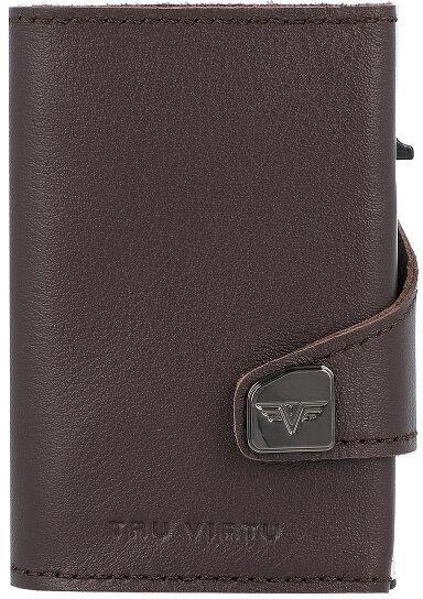 Tru Virtu Click & Slide Etui na karty bankowe Portfel RFID skórzany 6,5 cm brown-silver