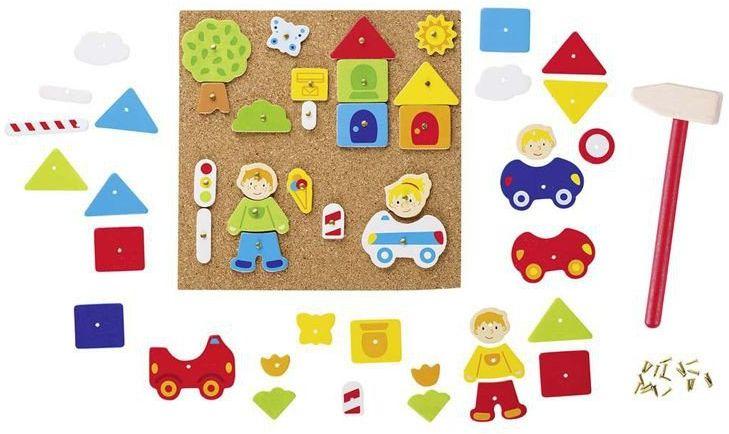 Przybijanka, kreatywna zabawa, Chłopczyk i dziewczynka w mieście, 58556-goki, zestawy kreatywne