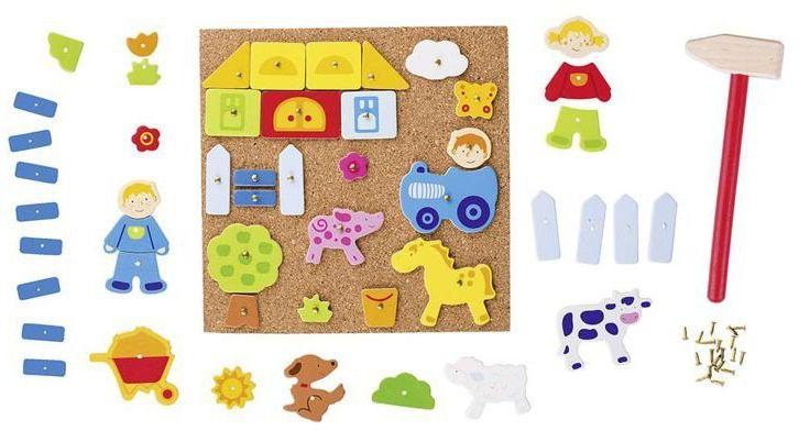 Przybijanka, kreatywna zabawa, Wesoła farma, 58555-goki, zestawy kreatywne dla dziewczynek i chłopców