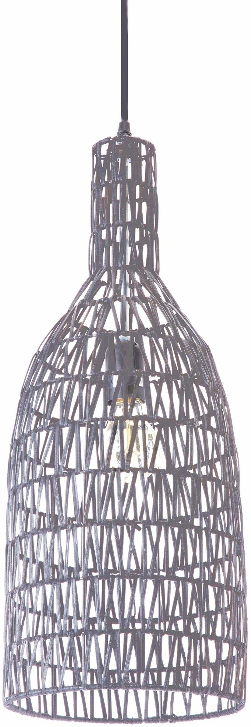 Lussiol 250268 lampa wisząca, rattan, 60 W, szara, ø 22 x wys. 60 cm
