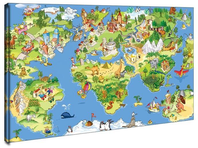 Mapa świata dla dziecka - obraz na płótnie wymiar do wyboru: 90x60 cm