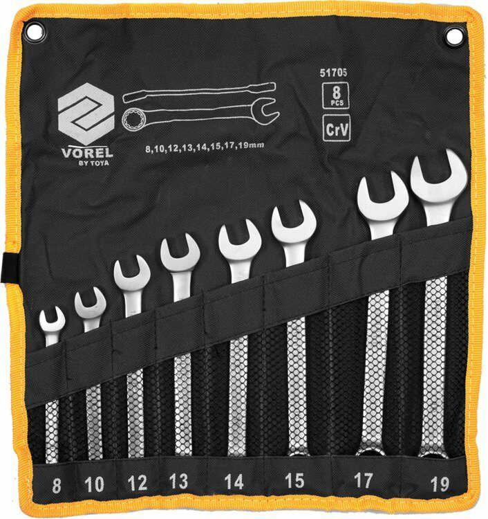 Klucze płasko-oczkowe 6-19mm,cv,kpl. 8szt. satyna, etui Vorel 51705 - ZYSKAJ RABAT 30 ZŁ