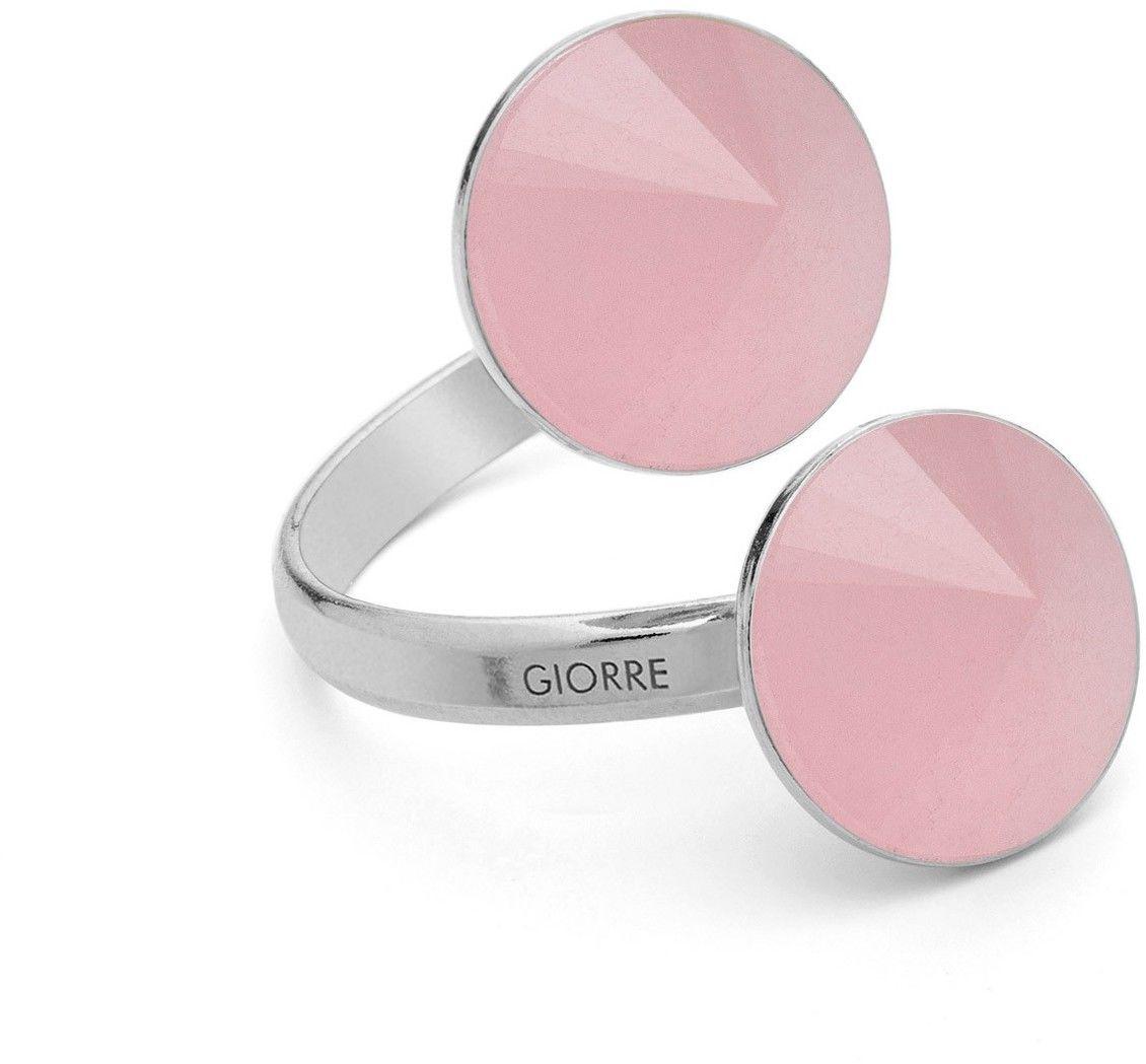 Pierścionek z dwoma naturalnymi kamieniami - kwarc, srebro 925 : Kamienie naturalne - kolor - kwarc różowy, Srebro - kolor pokrycia - Pokrycie platyną