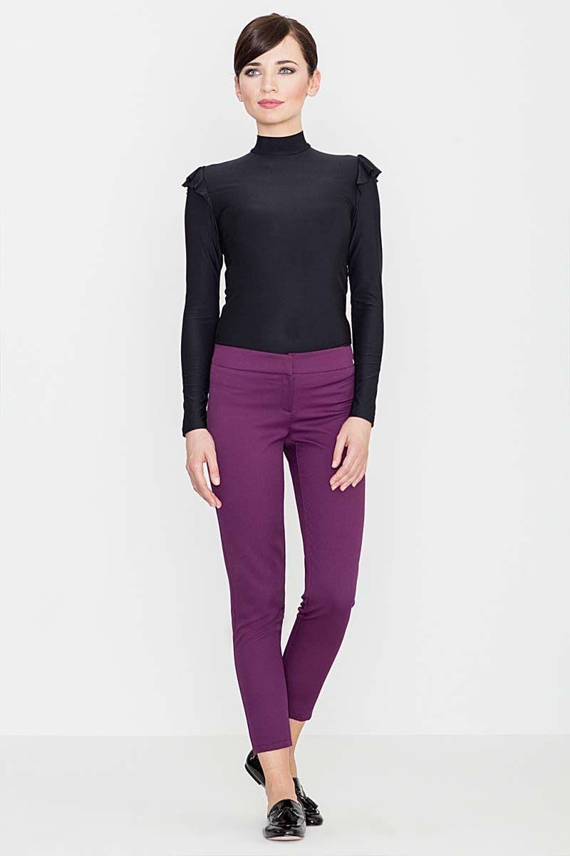 Fioletowe eleganckie spodnie z suwakami