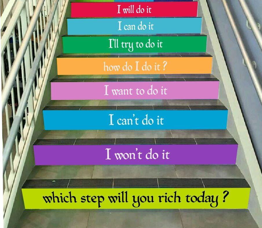 Which step will you rich today? - zestaw naklejek na schody