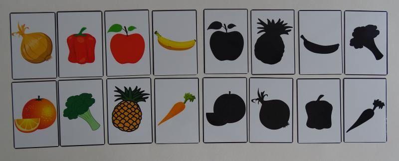 Owoce i warzywa cienie - karty edukacyjne