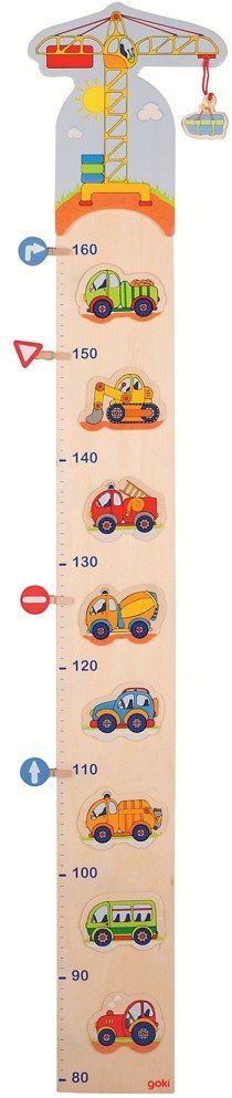 Samochody drewniane, miarka wzrostu z klamerkami, 60850-goki, dekoracje pokoju dziecka
