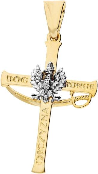 Złoty krzyż 585 krzyżyk z białym orłem godło