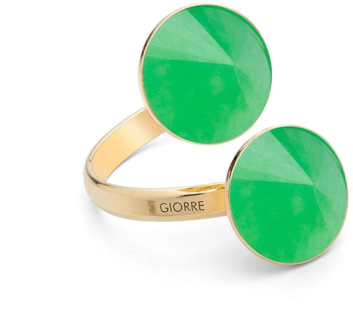 Pierścionek z dwoma naturalnymi kamieniami - chryzopraz, srebro 925 : Kamienie naturalne - kolor - chryzopraz zielony ciemny, Srebro - kolor pokrycia - Pokrycie żółtym 18K złotem