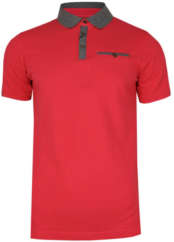 Różowo-Szara Elegancka Koszulka Polo -RANIR- 100% Bawełna, Męska, Krótki Rękaw TSRANIRM3301PSpink