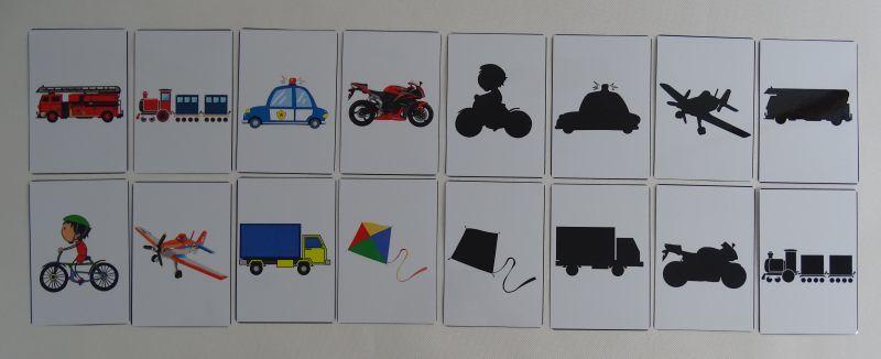 Pojazdy cienie - karty edukacyjne