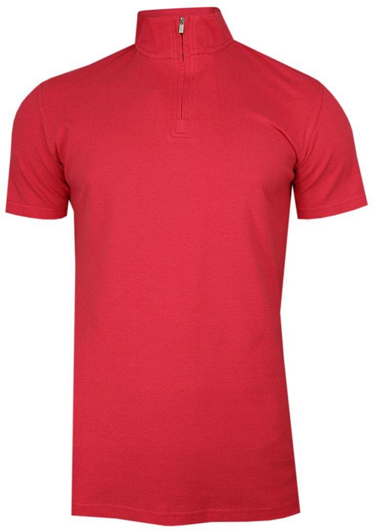 Różowa Koszulka Polo ze Stójką -CHIAO- 100% Bawełna, Męska, Krótki Rękaw, na Zamek TSCHIAOM4301PSpink