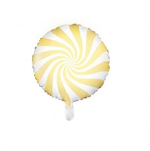Balon foliowy Candy - Cukierek, jasny żółty