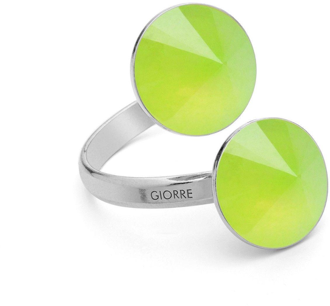Pierścionek z dwoma naturalnymi kamieniami - chryzopraz, srebro 925 : Kamienie naturalne - kolor - chryzopraz zielony jasny, Srebro - kolor pokrycia - Pokrycie platyną