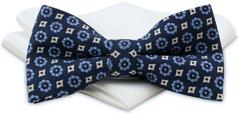 Granatowa Mucha Męska -ALTIES- z Białą Poszetką, w Niebieskie Kwiatki MUALTS0382